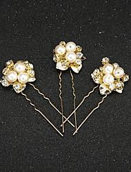Mulheres Menina das Flores Strass Liga Imitação de Pérola Capacete-Casamento Ocasião Especial Alfinete de Cabelo 2 Peças