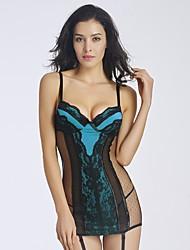 YUIYE® New Women Blue Sexy Lingerie Lace Bustier Babydoll & Slips Nightwear Plus Size S-2XL with G-thongs