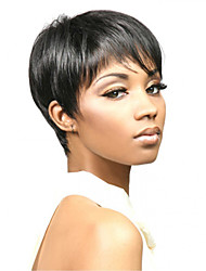 Capless Women Short Side Bang Straight Synthetic Hair Wig Black with Free Hair Net