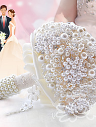 Glamorous Pearl Wedding Bouquet Jewelry Cream Bridal Flower Wedding Accessories
