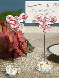 cheap -Pink Acrylic crystal Butterfly Place Card Holders wedding decoration BETER-SJ015