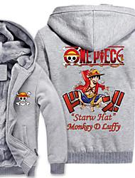 economico -Ispirato da One Piece Monkey D. Luffy Anime Costumi Cosplay Felpe Cosplay Con stampe Manica lunga Top Per Uomo
