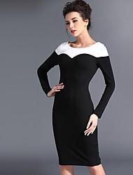Baoyan® Da donna A barca Maniche lunghe Sopra il ginocchio Vestiti-120110