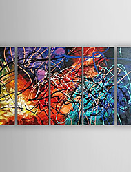 cheap -Oil Painting Abstract  Set of 5  Hand Painted Canvas with Stretched Framed Ready to Hang