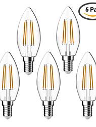E14 Lâmpadas de Filamento de LED C35 4 leds COB Impermeável Decorativa Branco Quente 400lm 2700K AC 220-240V