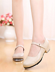 cheap -Women's Tap Shoes Leather Heel Low Heel Non Customizable Dance Shoes Beige