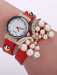 baratos -Mulheres Relógio de Moda / Bracele Relógio Couro Banda Flor Preta / Branco / Azul / Um ano / Tianqiu 377