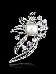 baratos -Mulheres Cristal Broches - Resina, Strass Flor Fashion Broche Prata Para Casamento / Festa / Aniversário