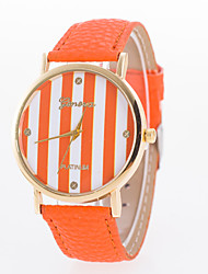 cheap -Women's Fashion Watch Quartz Hot Sale Leather Band Stripes Black White Blue Red Orange Brown Pink Rose