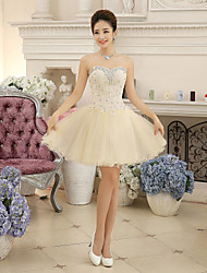 cheap -Ball Gown Sweetheart Short / Mini Chiffon Lace Cocktail Party Dress with Crystal Detailing Lace Bandage by Yaying