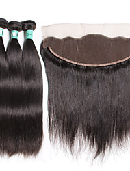 cheap -Indian Hair Straight Human Hair Weaves Soft Hair Weft with Closure Daily