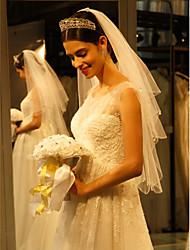 Uma Camada Borda Enfeitada Véus de Noiva Véu Ponta dos Dedos Com Pérola Tule