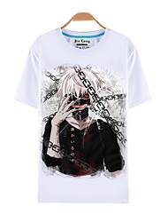 cheap -Inspired by Tokyo Ghoul Ken Kaneki Anime Cosplay Costumes Cosplay T-shirt Print Short Sleeves Top For Male