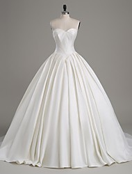 A-Line Strapless Cathedral Train Satin Wedding Dress with Button by LAN TING BRIDE®