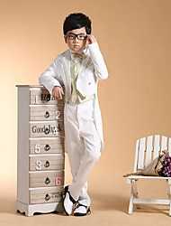 cheap -Gold Silver Cotton Ring Bearer Suit - Six-piece Suit Includes  Jacket Pants Vest Waist cummerbund Shirt Bow Tie