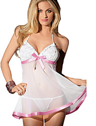cheap -Women Mesh Sling Sexy Pink Bow Temptation Lingerie