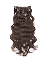 "15""-22"" Brazilian Clip In Body Wavy Natural Balck 7Pcs/Set Full Thick Clip In Human Hair Extensions"