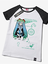 cheap -Inspired by Vocaloid Hatsune Miku Anime Cosplay Costumes Cosplay T-shirt Print Short Sleeves T-shirt For Men's Women's