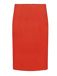 Feminino Simples Moda de Rua Cintura Alta Longuete Saias,Lápis Cor Única