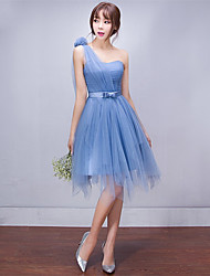 cheap -A-Line One Shoulder Short / Mini Tulle Bridesmaid Dress with Side Draping by LAN TING Express