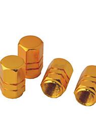 preiswerte -4 Stück Sechskant-Aluminiumlegierung Reifenventilkappen für Auto Fahrzeug