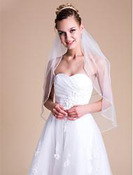 Недорогие -Свадебные вуали Два слоя Фата до локтя 31.5 (80 см) Тюль Белый Цвет слоновой кости