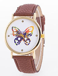 Women's Fashion Watch Quartz Leather Band Butterfly Black White Blue Red Orange Brown Pink Yellow Rose