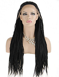 Fashion Synthetic Wigs Lace Front Wig 32inch Braided Black Heat Resistant Hair Wig Women