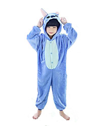 cheap -Kigurumi Pajamas Monster Blue Monster Onesie Pajamas Costume Flannel Toison Blue Pink Cosplay For Kid Animal Sleepwear Cartoon Halloween