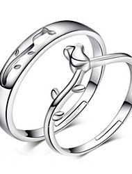 cheap -2pcs Sterling Silver Ring Hollow Rose Couple Rings Adjustable Fashion Jewelry for Couple Wedding Engagement Ring