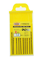 cheap -REWIN® TOOL Stainless Steel Cobalt-containing Twist Drill Diameter:1.5mm With 10pcs/box