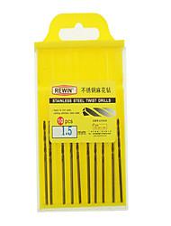 rewin® 도구 스테인레스 스틸, 코발트 함유 트위스트 드릴 직경 : 10PCS / 상자 1.5mm의