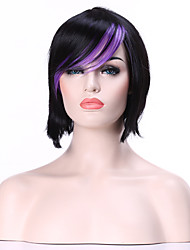 cheap -Top Quality Black&Purple  Fashion Middle Long  Bob Wig Woman's Synthetic Wig Hair Straight Party  Wig