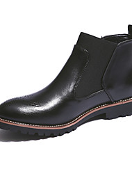 cheap -Men's Shoes Leather Fall Winter Comfort Chelsea Boot Boots Booties/Ankle Boots Split Joint For Casual Office & Career Black Brown Burgundy