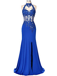 cheap -Mermaid / Trumpet High Neck Floor Length Lace Satin Formal Evening Dress with Beading Appliques Split Front Sequins by ARMK