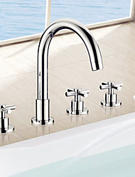 Contemporary Roman Tub Handshower Included Ceramic Valve Five Holes Three Handles Five Holes Chrome , Bathtub Faucet