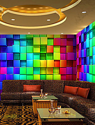 cheap -3D Shinny Leather Effect Large Mural Wallpaper Colourful Grid Art Wall Decor Wall Paper