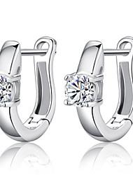 Brincos em Argola Pedras dos signos Prata de Lei Prata Jóias Para Casamento Festa Diário Casual 1 par