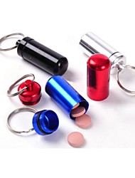 cheap -Waterproof  Small Metal Container Aluminum Pill Box Holder Keychain Medicine Packing Bottle