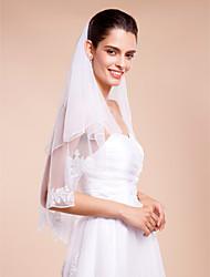 Duas Camadas Borda Lápis Véus de Noiva Véu Cotovelo Com Apliques Tule
