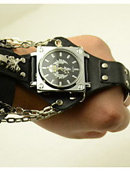 cheap -Men's Fashion Watch Leather Band Skull Black / Brown