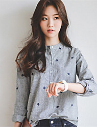 cheap -Women's Fashion Print Solid Gray Shirt,Crew Neck Long Sleeve