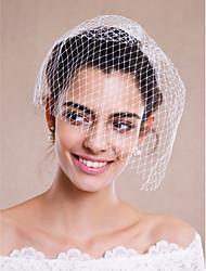 Voiles de Mariée Une couche Voiles Blush Voiles pour cheveux courts Coiffure avec voile Bord écru Tulle Blanc