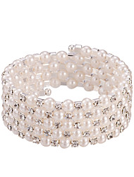 cheap -Five Layer Pearl Crystal No Clasp Elastic Bangle Bracelet Jewelry (One Size for All)