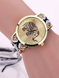 cheap -Women Fabric Weave Band Analog Quartz Elephant Case  Wrist Bracelet Watch Jewelry Strap Watch