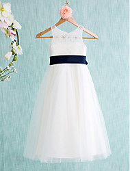A-Line Tea Length Flower Girl Dress - Lace Tulle Sleeveless Jewel Neck with Ribbon by LAN TING BRIDE®