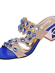 baratos -Mulheres Sapatos Couro Ecológico Verão Salto Robusto Gliter com Brilho Preto / Dourado / Azul Real