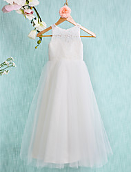 cheap -A-Line Ankle Length Flower Girl Dress - Lace Tulle Sleeveless Jewel Neck with Lace Pleats by LAN TING BRIDE®