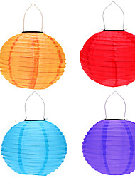 "4pcs 12"" Solar Powered LED Light Chinese Hanging Lantern Lamp Lighting for Garden Yard"