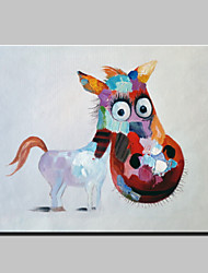 cheap -Hand-Painted Abstract Lovely Animal Modern Burro Oil Painting , Canvas One Panel Ready to Hang